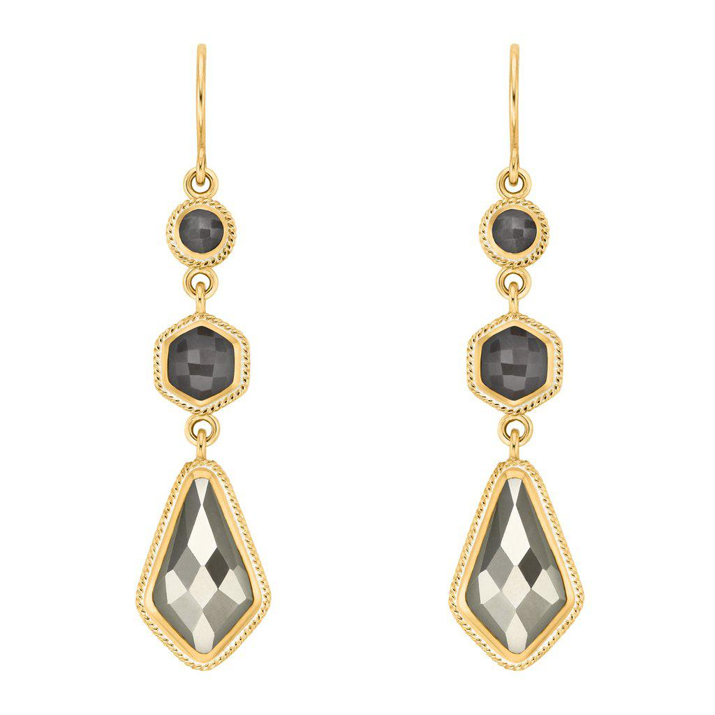 Anna Beck Grey Sapphire & Pyrite Kite Triple Drop Earrings - Gold