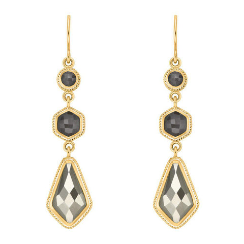 Anna Beck Grey Sapphire & Pyrite Kite Triple Drop Earrings - Gold - Blue Hand Home