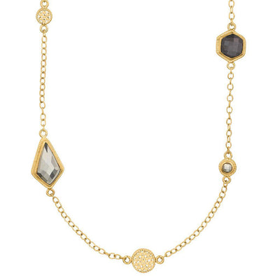 Anna Beck Grey Sapphire and Pyrite Multi Disc Necklace-Anna Beck Jewelry-Blue Hand Home