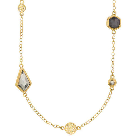 Anna Beck Grey Sapphire & Pyrite Multi Disc Necklace - Blue Hand Home
