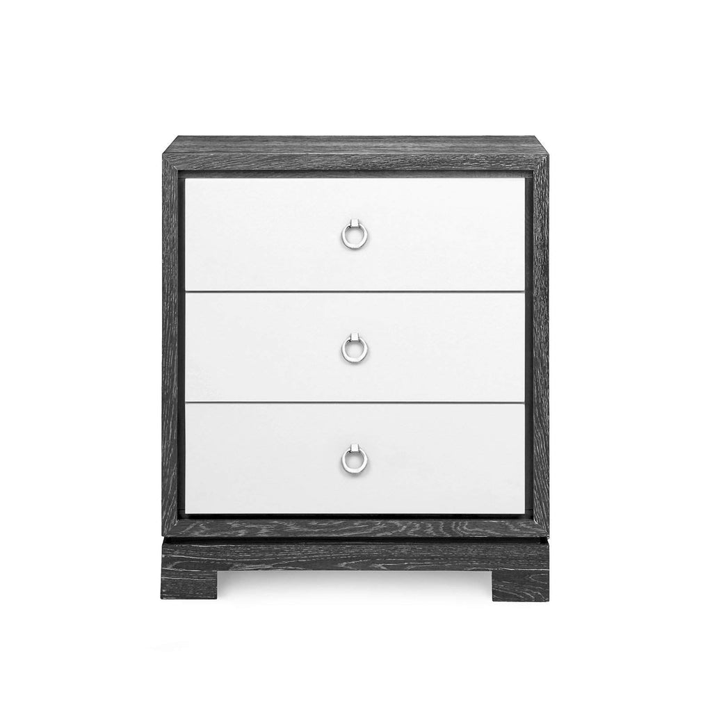 Bungalow 5 - BERKELEY 3-DRAWER SIDE TABLE W/ CHROME PULLS in GRAY-Bungalow 5-Blue Hand Home