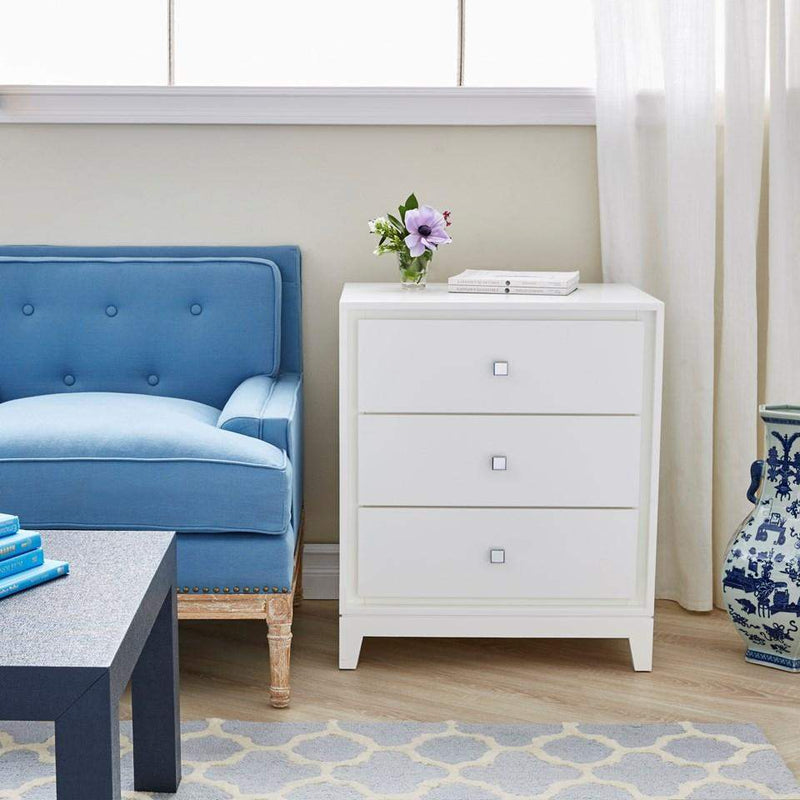 Bungalow 5 - BERGAMO 3-DRAWER SIDE TABLE in WHITE-Bungalow 5-Blue Hand Home