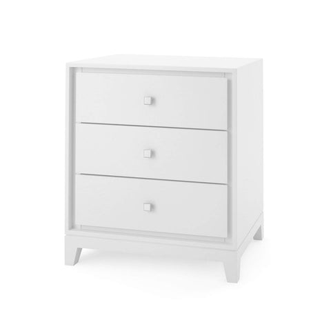 Bungalow 5 - BERGAMO 3-DRAWER SIDE TABLE in WHITE - Blue Hand Home