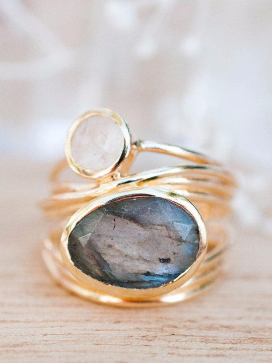 Bruna Labradorite & Moonstone Ring