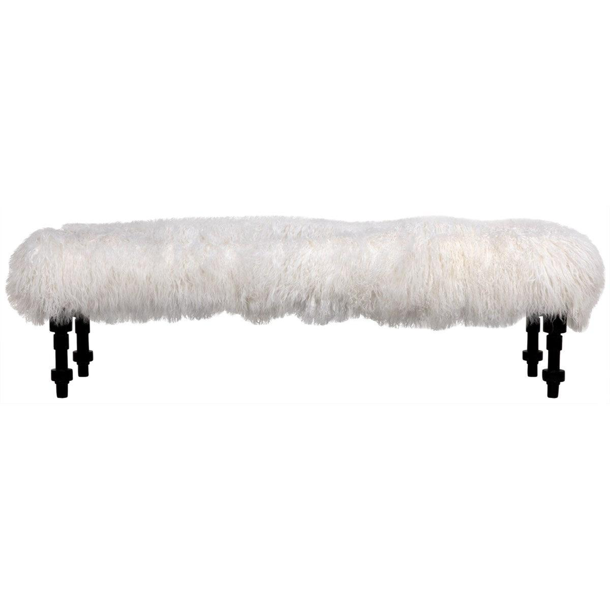 Noir Furniture Coco Bench with Lamb Fur, Hand Rubbed Black-Noir Furniture-Blue Hand Home