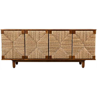 Noir Brook 4 Door Sideboard, Teak-Noir Furniture-Blue Hand Home