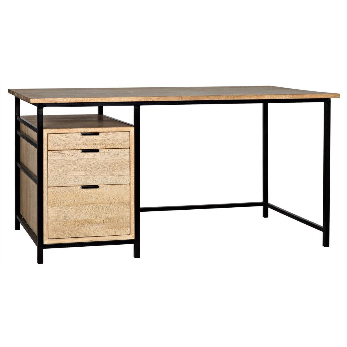 Noir Furniture Nabucco Desk, Bleached Walnut and Metal-Noir Furniture-Blue Hand Home