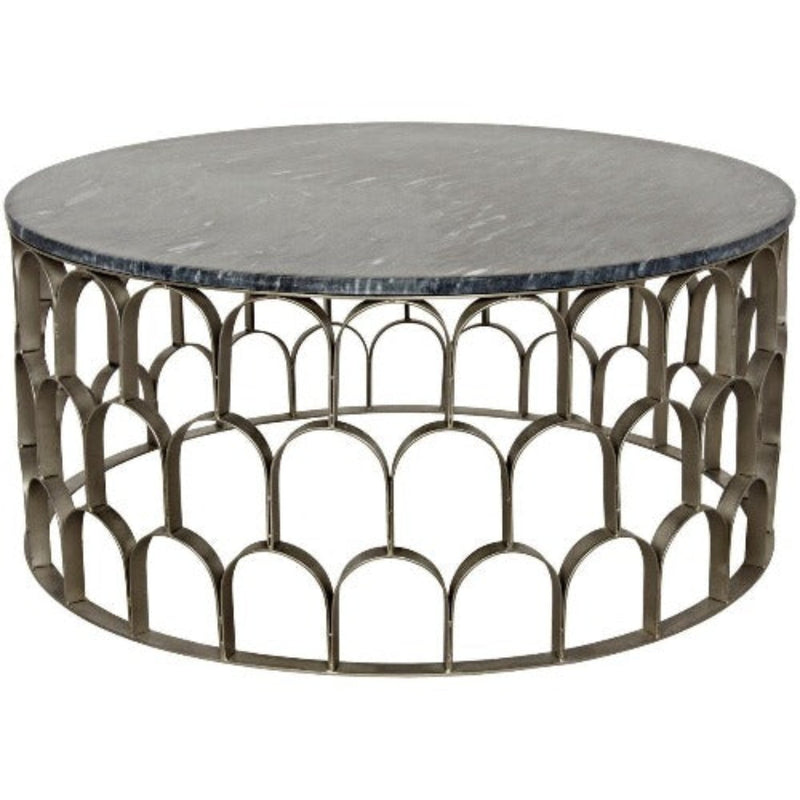 Noir Furniture Mina Coffee Table, Antique Silver, Metal and Stone-Noir Furniture-Blue Hand Home