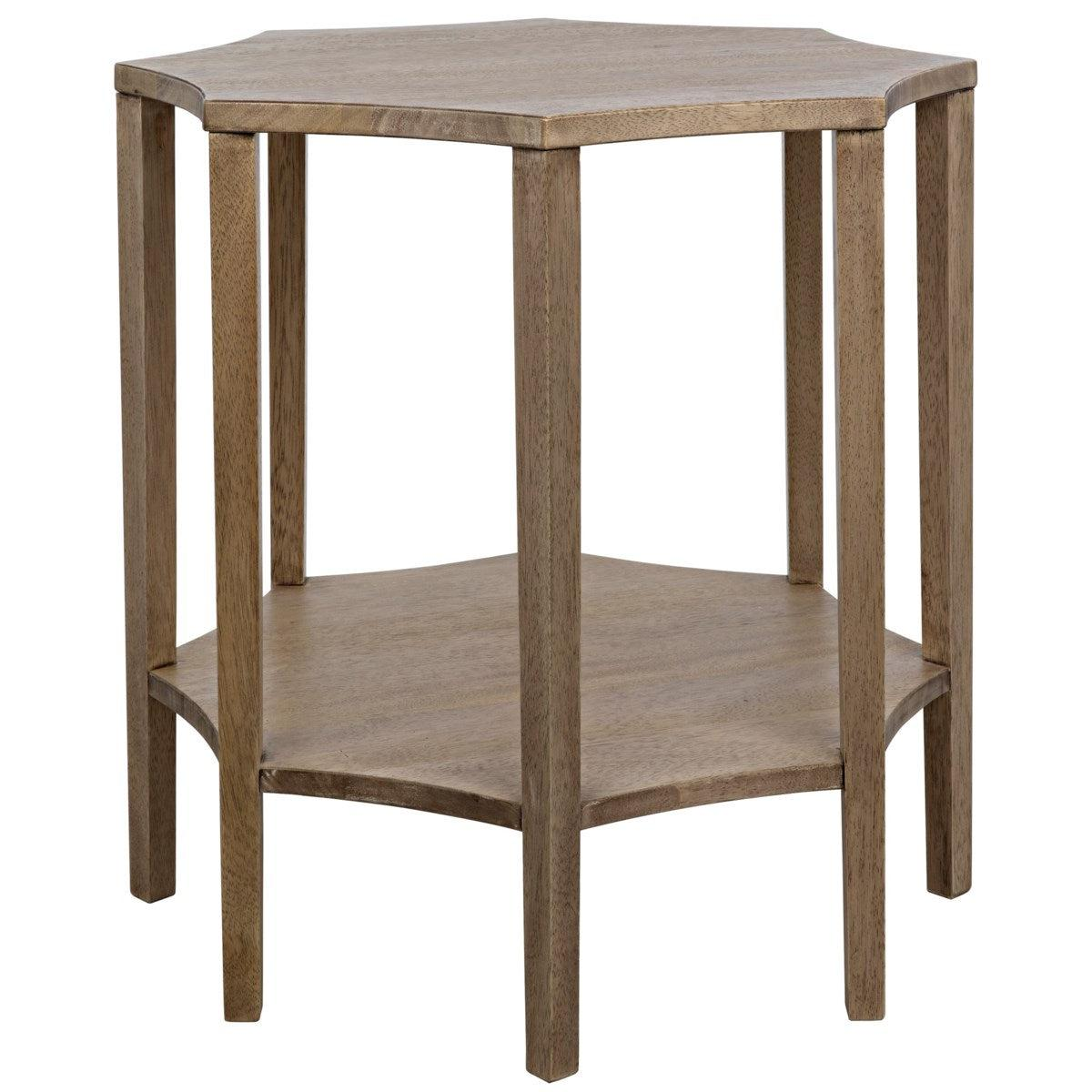Noir Ariana Side Table, Washed Walnut