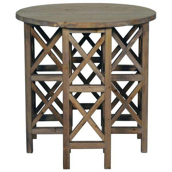 Noir Zimmerman Side Table, Old Wood-Noir Furniture-Blue Hand Home