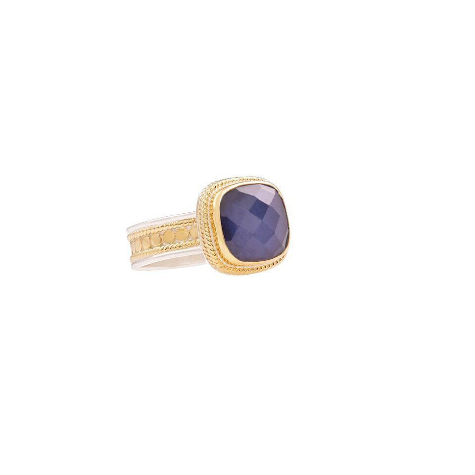 Anna Beck Blue Sapphire Cushion Ring-Anna Beck Jewelry-Blue Hand Home