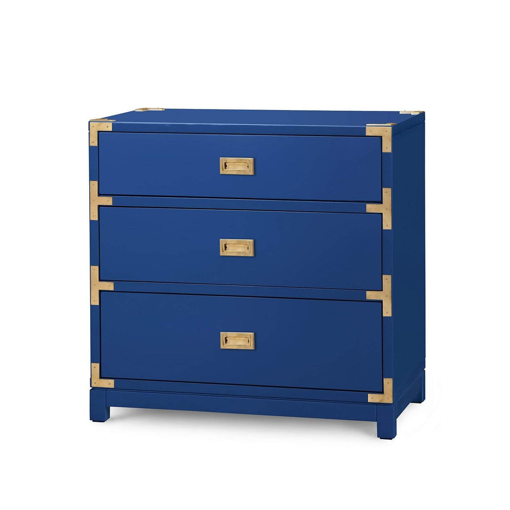 Bungalow 5 - VICTORIA 3-DRAWER SIDE TABLE in NAVY BLUE-Bungalow 5-Blue Hand Home