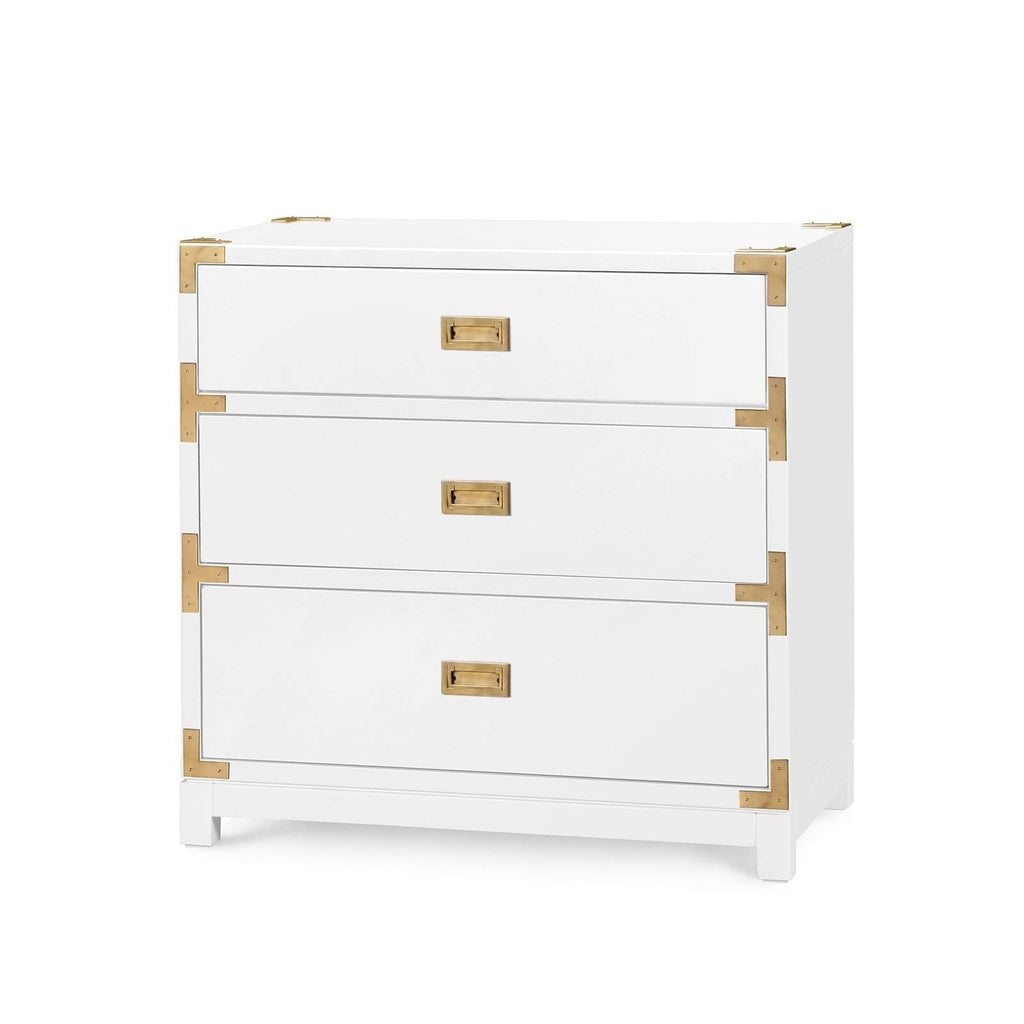 Bungalow 5 - VICTORIA 3-DRAWER SIDE TABLE in WHITE-Bungalow 5-Blue Hand Home