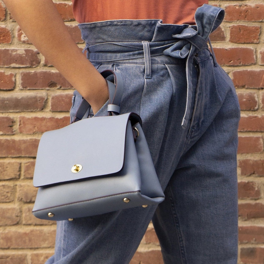 Melie Bianco Luxury Vegan Leather Camilla Crossbody Bag in Blue