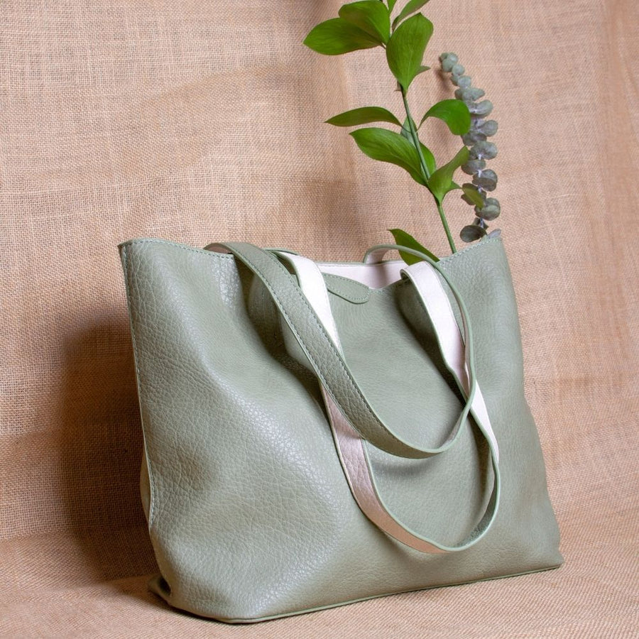 Melie Bianco Denise Large Reversible Luxury Vegan Leather Tote Bag in Mint