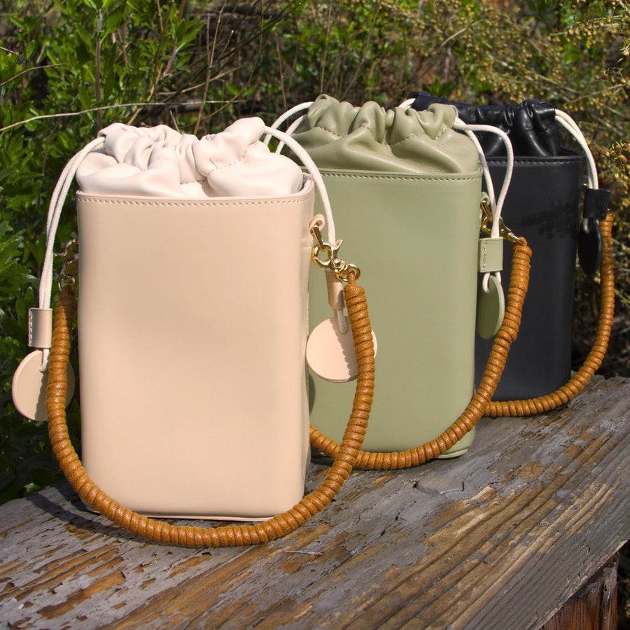 Melie Bianco Poppy Luxury Vegan Leather Crossbody in Nude, Mint, and Black