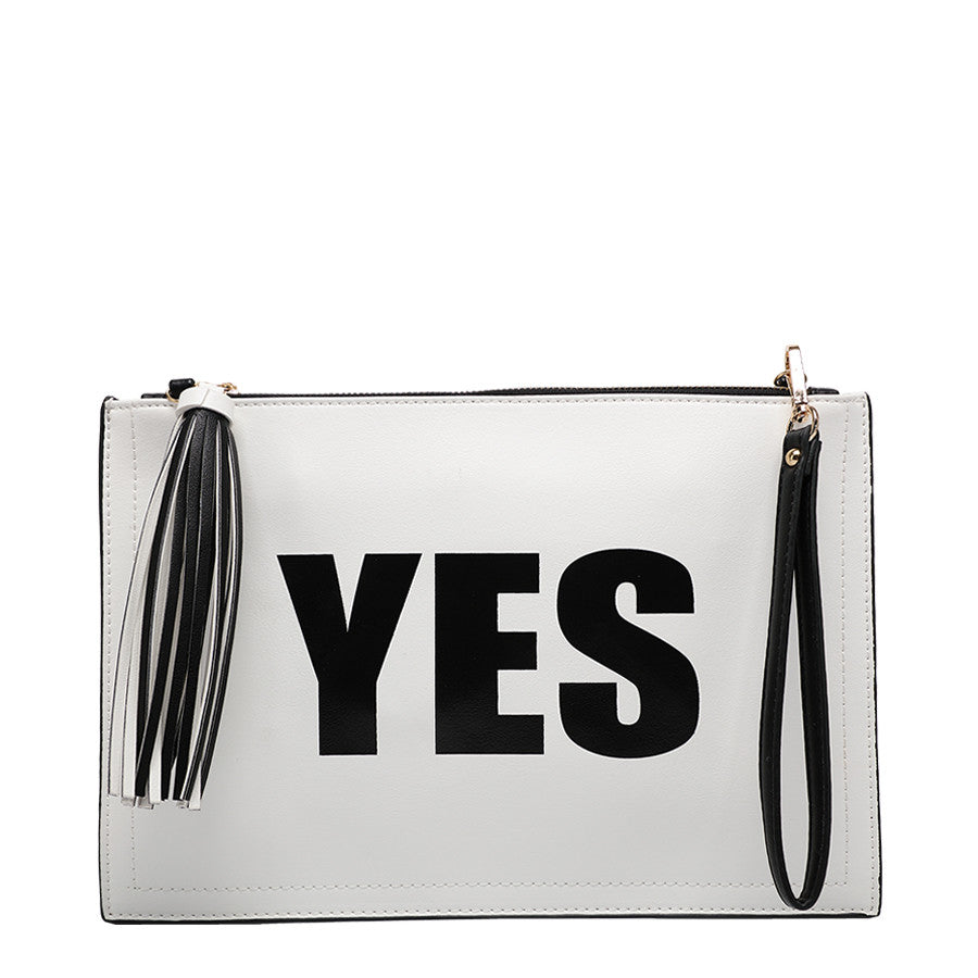 Yes/No Clutch - Melie Bianco Handbags Accessories