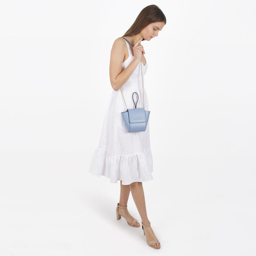 Melie Bianco Luxury Vegan Leather Adele Crossbody Bag in Blue