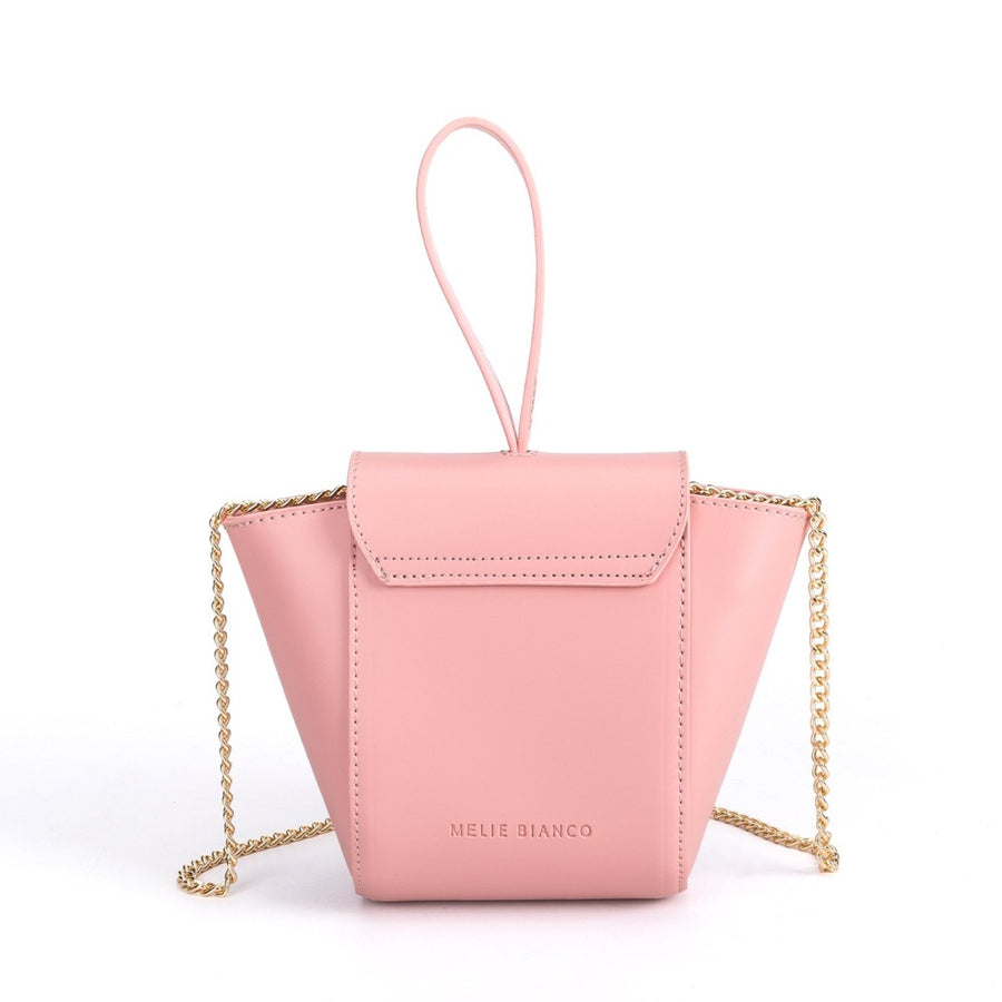 Melie Bianco Luxury Vegan Leather Adele Crossbody Bag in Blush