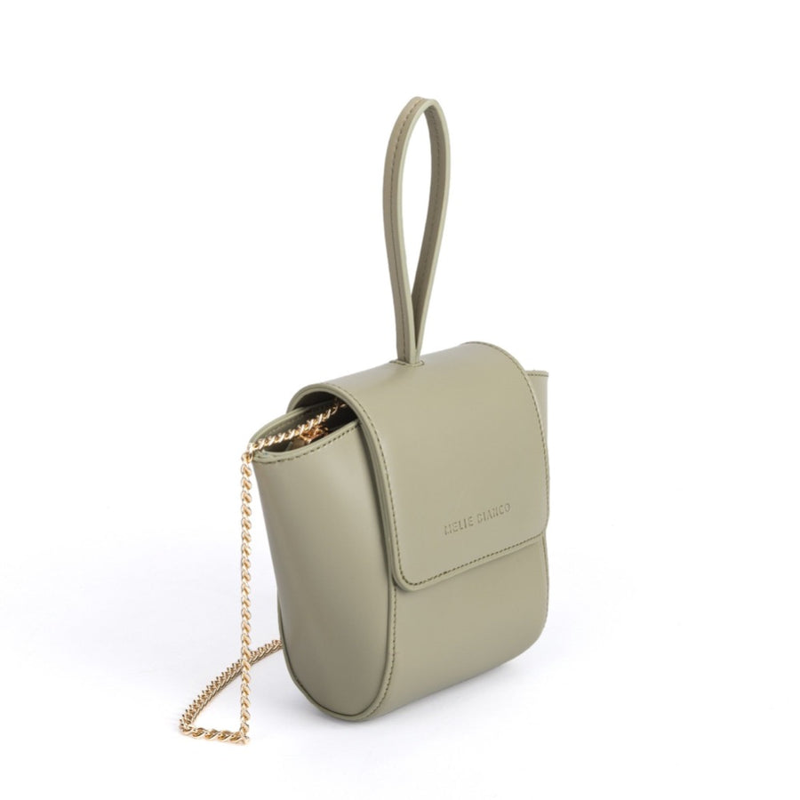 Melie Bianco Luxury Vegan Leather Adele Crossbody Bag in Mint