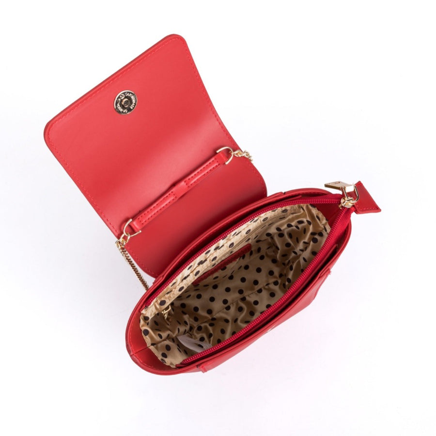 Melie Bianco Luxury Vegan Leather Adele Crossbody Bag in Red