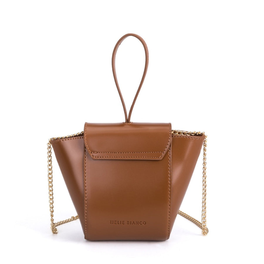 Melie Bianco Luxury Vegan Leather Adele Crossbody Bag in Saddle