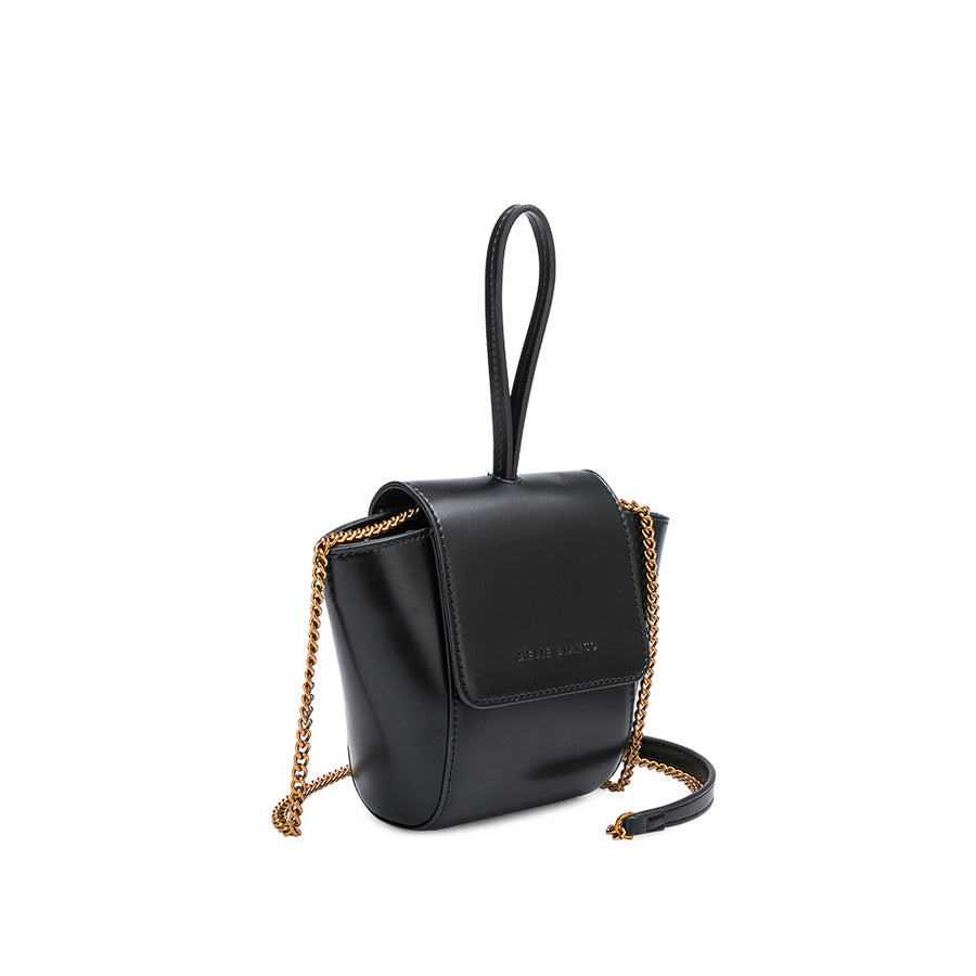 Melie Bianco Luxury Vegan Leather Adele Crossbody Bag in Black