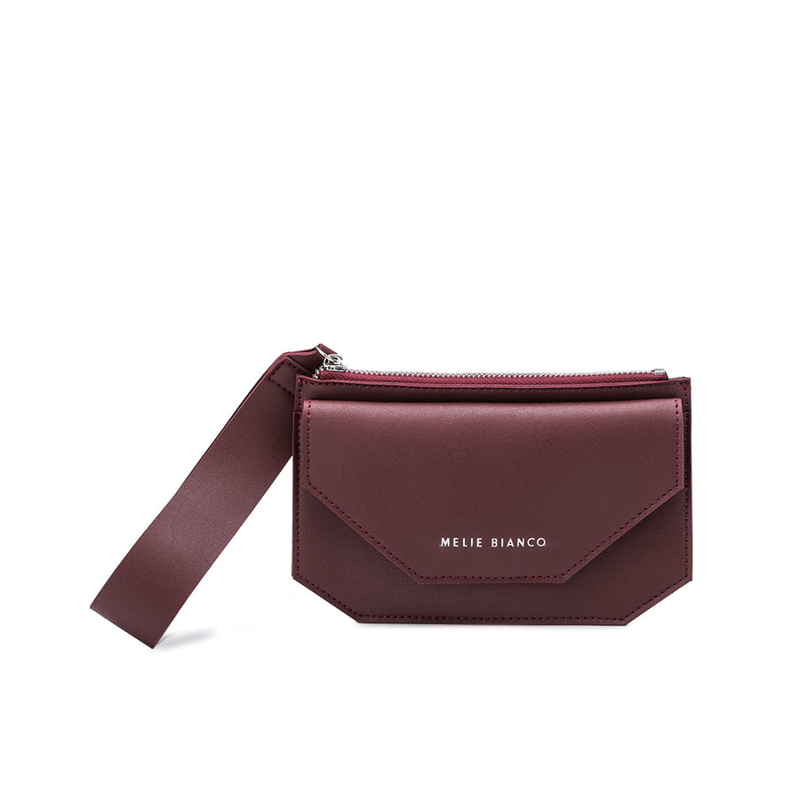 Melie Bianco Luxury Vegan Leather Lottie Crossbody Bag in Burgundy