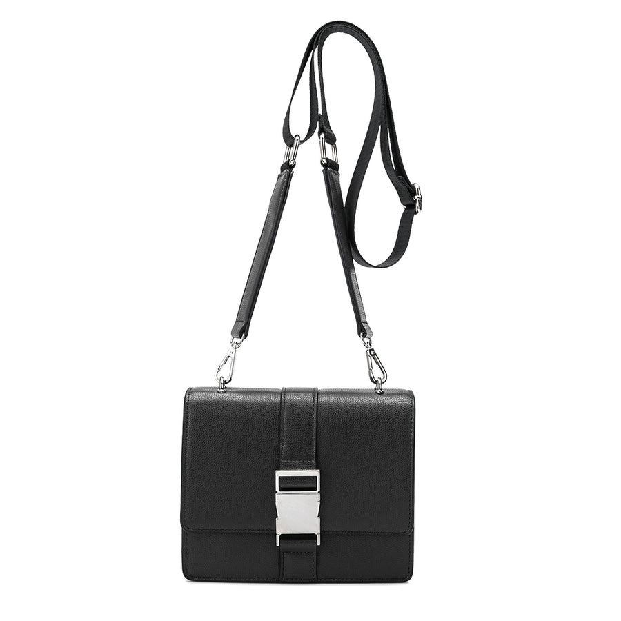 Melie Bianco Luxury Vegan Leather Stalking Gia Black Crossbody Belt Bag Purse (785173708891)