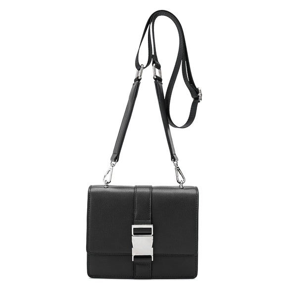 Melie Bianco Luxury Vegan Leather Stalking Gia Black Crossbody Belt Bag Purse
