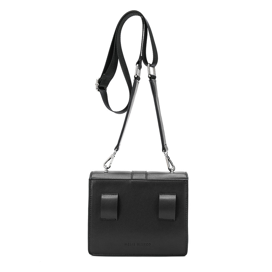 Melie Bianco Luxury Vegan Leather Stalking Gia Crossbody Bag in Black