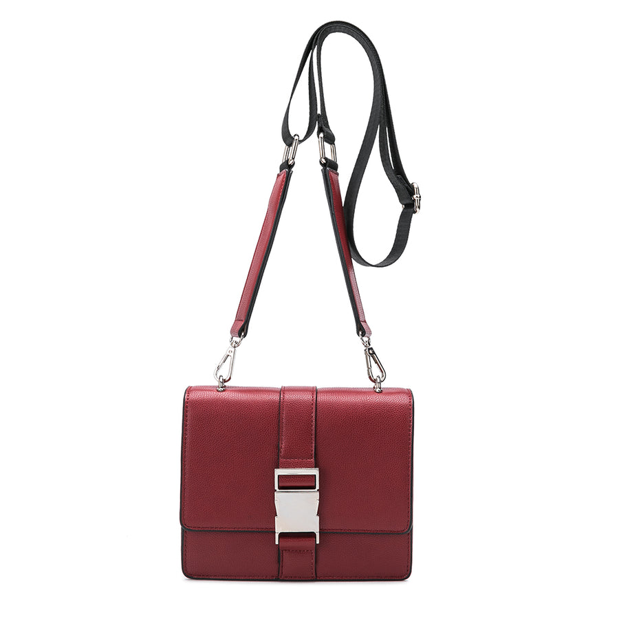 Melie Bianco Luxury Vegan Leather Stalking Gia Wine Crossbody Belt Bag Purse