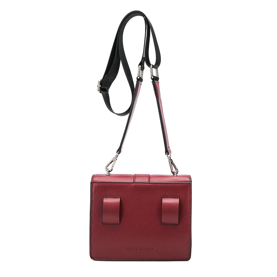 Melie Bianco Luxury Vegan Leather Stalking Gia Crossbody Bag in Wine