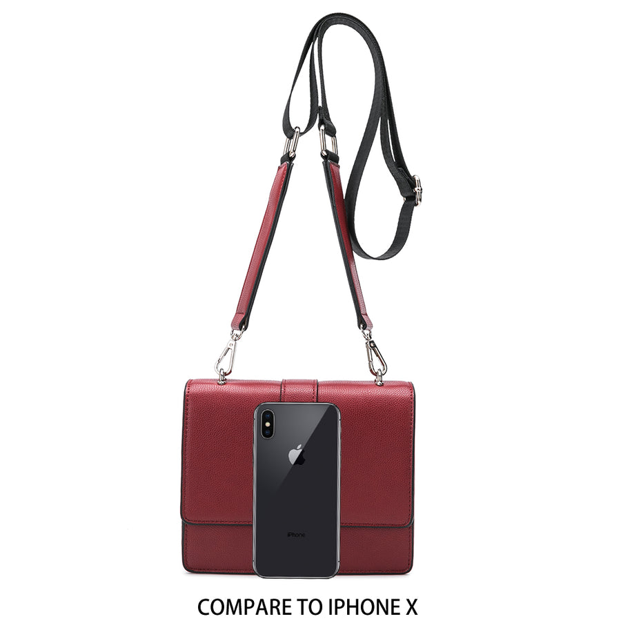 Melie Bianco Luxury Vegan Leather Stalking Gia Wine Crossbody Belt Bag Purse (785173676123)