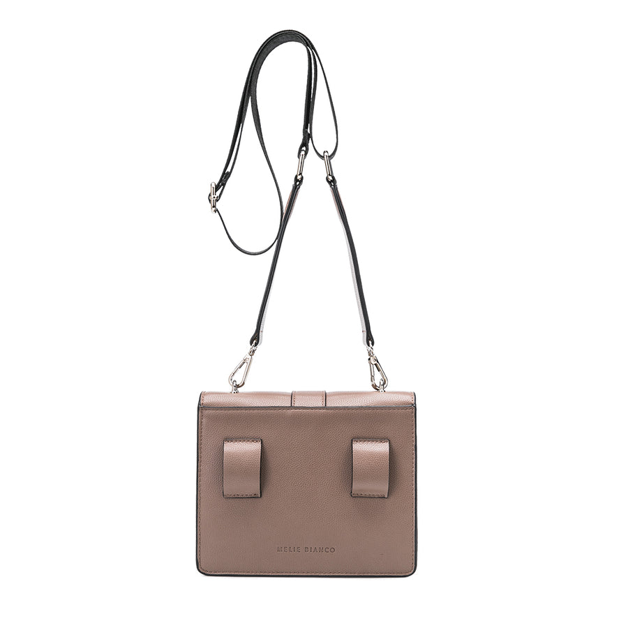 Melie Bianco Luxury Vegan Leather Stalking Gia Crossbody Bag in Taupe