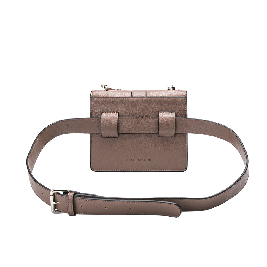 Melie Bianco Luxury Vegan Leather Stalking Gia Taupe Crossbody Belt Bag Purse (785173643355)