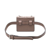 vegan, cruelty free, handbag, bag, purse, faux leather, animal friendly, sustainable fashion, stalking gia, crossbody, belt bag, convertible, multiwear, small, mini, buckle, silver hardware, taupe, grey, gray