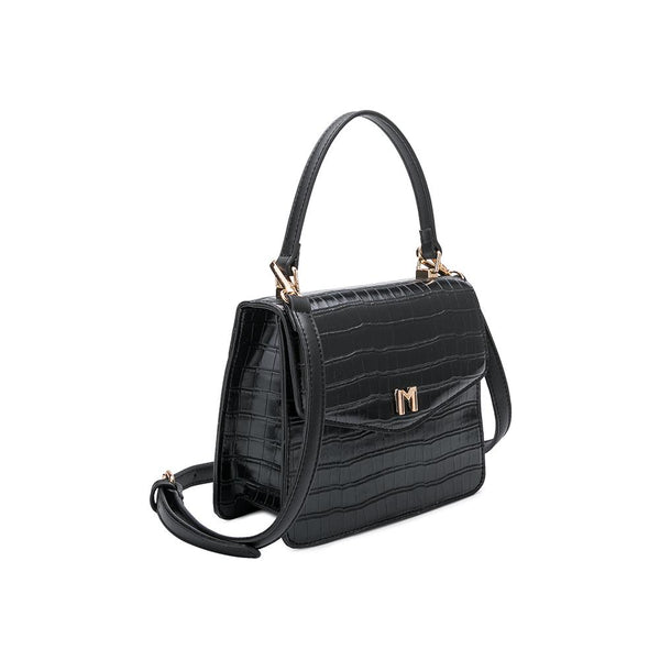 Lena Black Faux Croc Crossbody