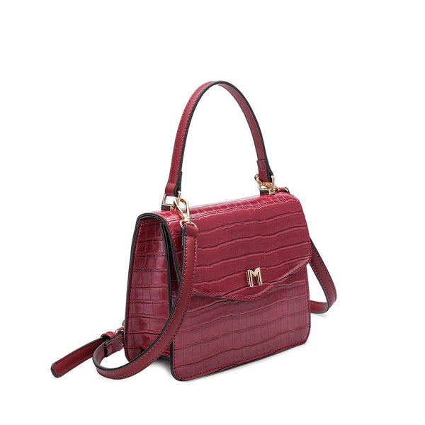 Lena Burgundy Faux Croc Crossbody