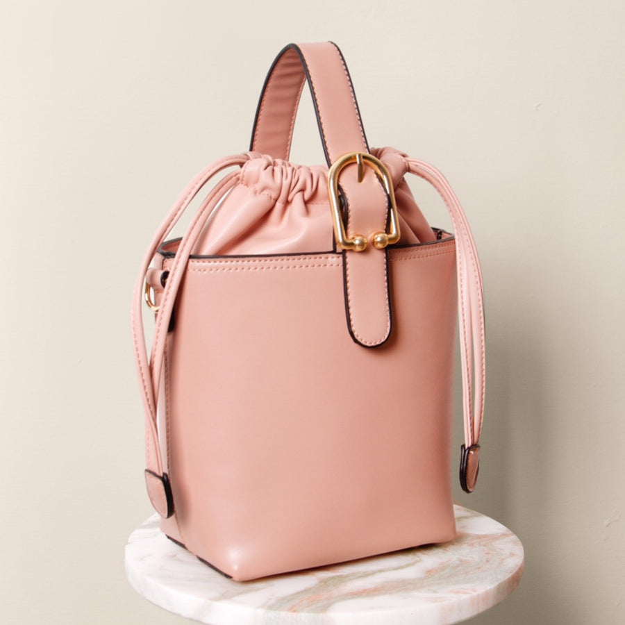 Melie Bianco Alexis Luxury Vegan Leather Crossbody Bucket Bag in Blush
