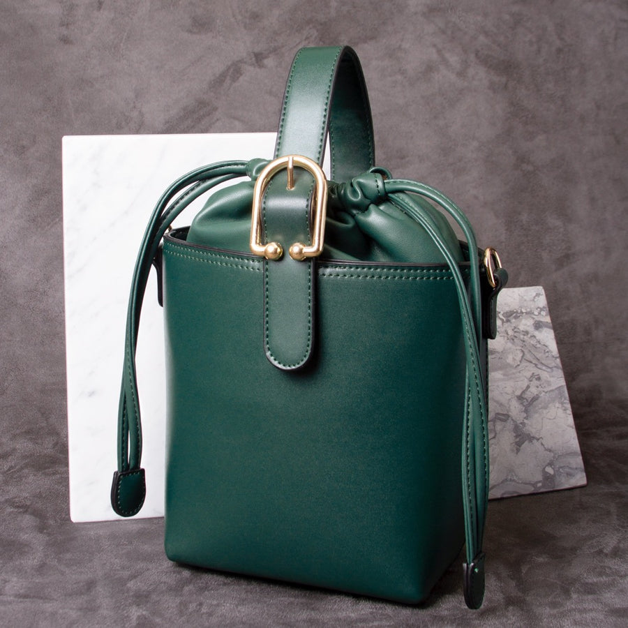 Melie Bianco Alexis Luxury Vegan Leather Crossbody Bucket Bag in Green