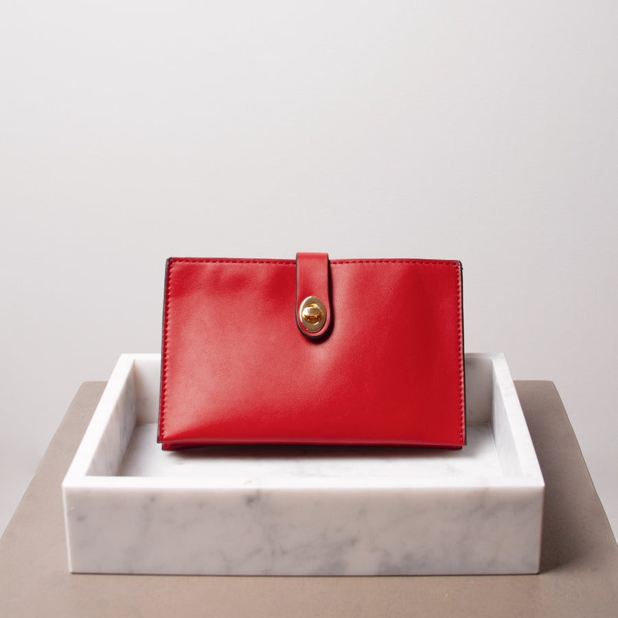Melie Bianco Alicia Luxury Vegan Leather Crossbody Wristlet in Red