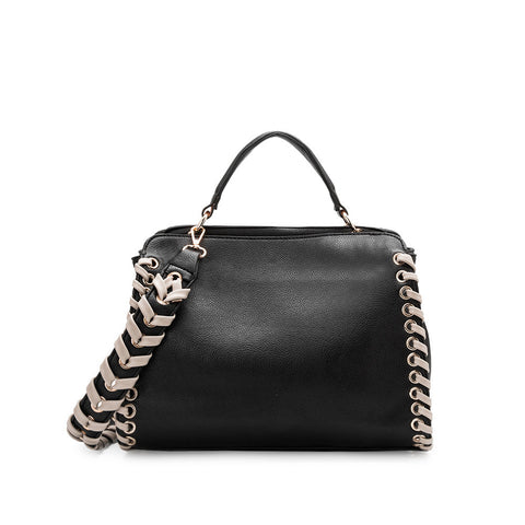Delisia Black Whipstitch Shoulder Bag