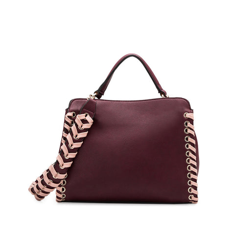 Delisia Burgundy Whipstitch Shoulder Bag