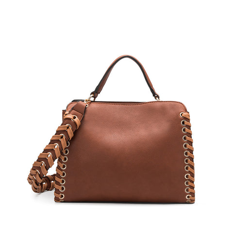 Delisia Saddle Whipstitch Shoulder Bag