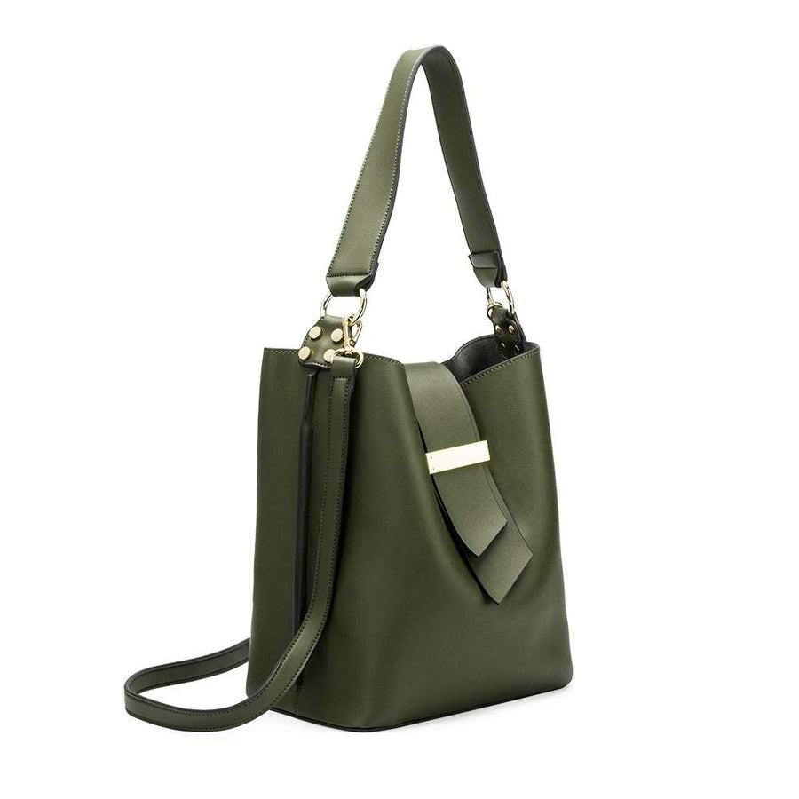 Melie Bianco Luxury Vegan Leather Alessia Shoulder Bag in Olive
