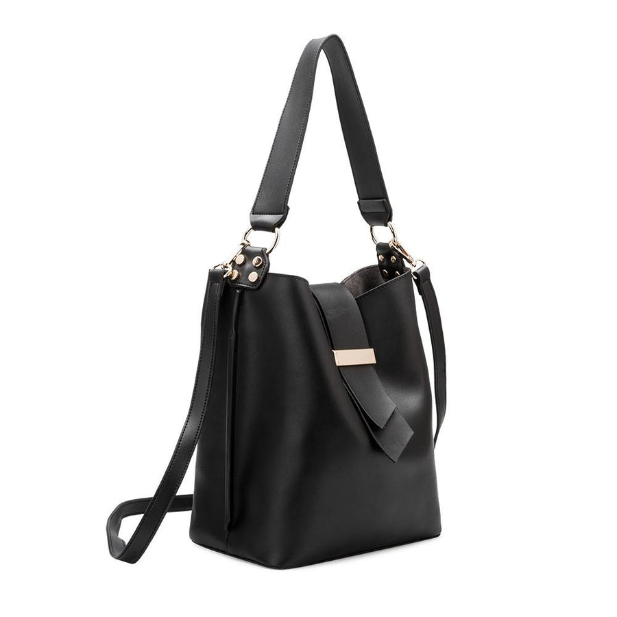 Melie Bianco Luxury Vegan Leather Alessia Shoulder Bag in Black