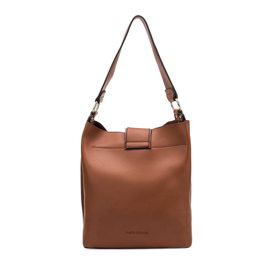 Melie Bianco Alessia Luxury Vegan Leather Shoulder Bag in Saddle