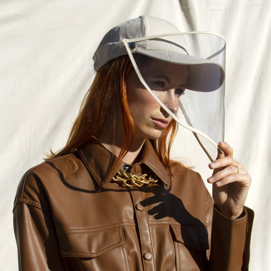 Beige Baseball Cap Face Shield - FINAL SALE