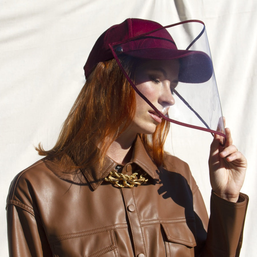 Burgundy Baseball Cap Face Shield - FINAL SALE